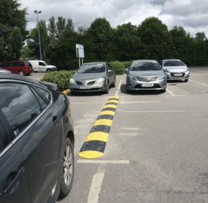 Speed ramps in car park in Ireland