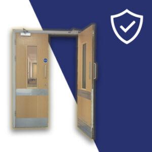 Steel door kick plates for protecting busy corridor doors, displayed on branded background, for sale in Ireland.