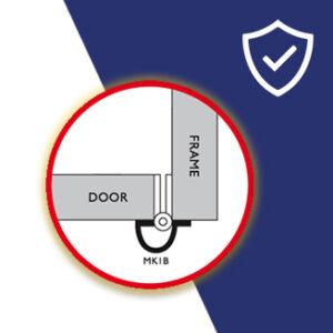 Door hinge pinch guard cgi, displayed on branded background, for sale in Ireland.