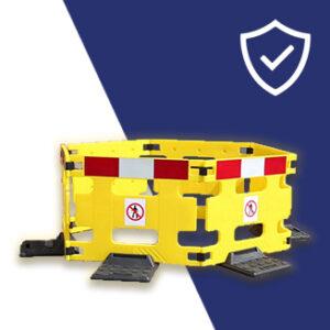 Construction worker maintenance barrier, yellow hazard high-vis for street use