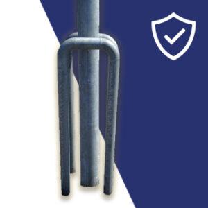 The galvanised car parking hoop lamppost protector offers low cost protection. The galvanised hoop is sunk 400mm below the ground