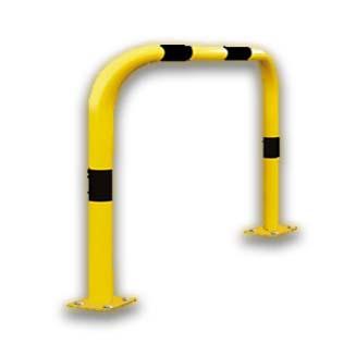 Yellow hoop barrier, powder coated safety barrier. Modular cheap solution