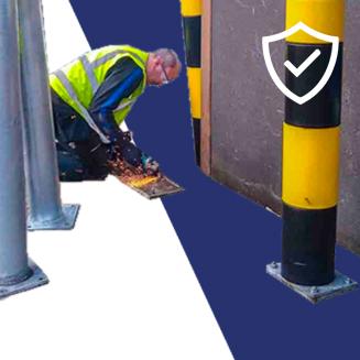 Contractors fitting bollards at loading bay in Dublin Ireland, warehouse doorway bollard, ireland contracting service always near me